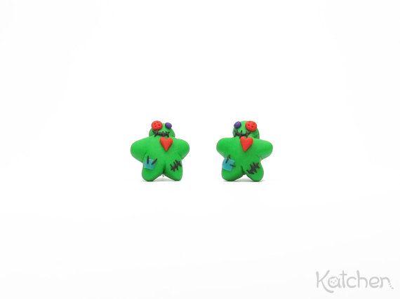 Voodoo Doll Stud Earrings - Creepy Cute Halloween Jewelry by KatchenDesignsBerlin on Etsy