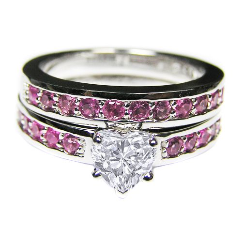 heart shape diamond engagement ring with channel set pink sapphires in 14k white gold matching