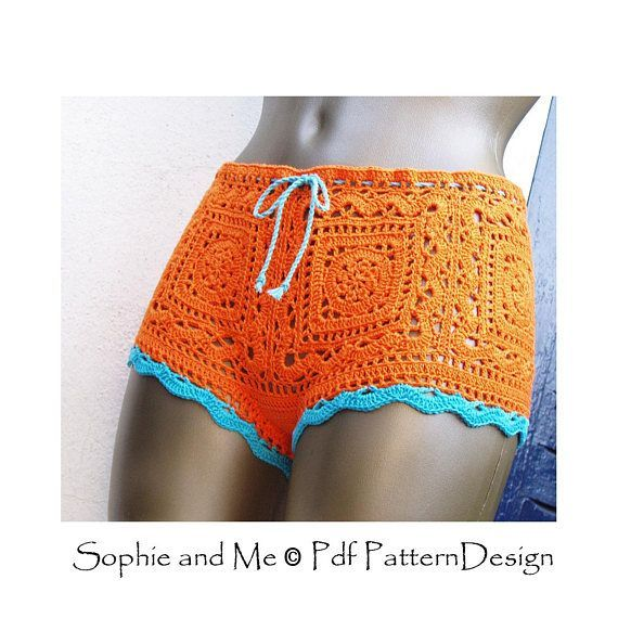 Lido Shorts - Granny Square Crochet Pattern - Instant Download Pdf