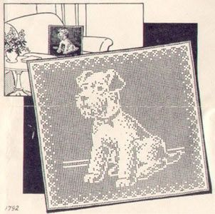 Vintage filet crochet pattern pillow top puppy dog vintage filet crochet pattern pillow top puppy dog dt1010fo
