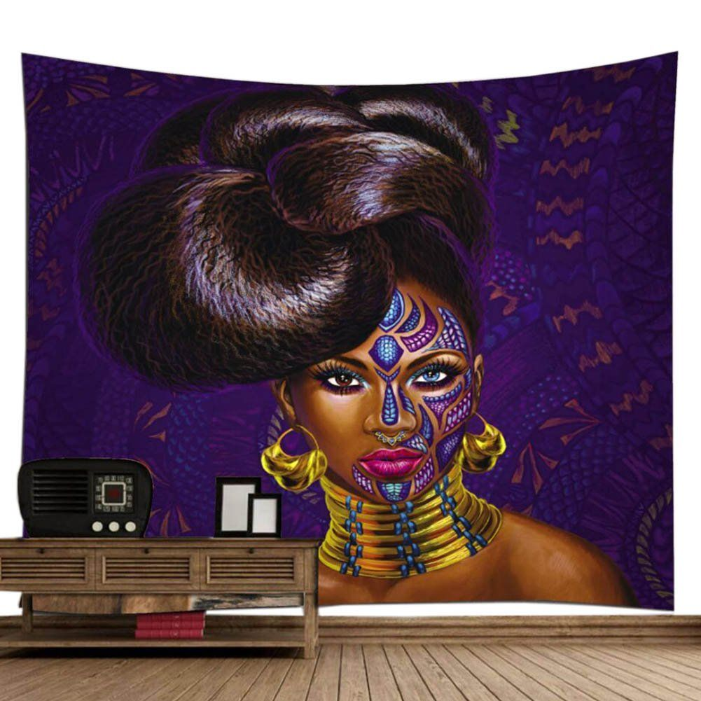 African american black art digital print wall tapestry poppap graffiti style noble hairstyle girl with face tattoo earrings metal collar painting also rh pinterest