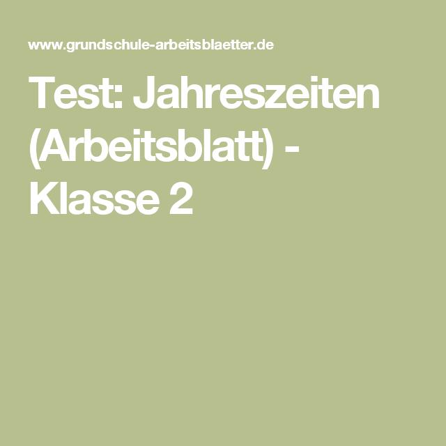 Test: Jahreszeiten (Arbeitsblatt) - Klasse 2 | Klassenzimmer ...