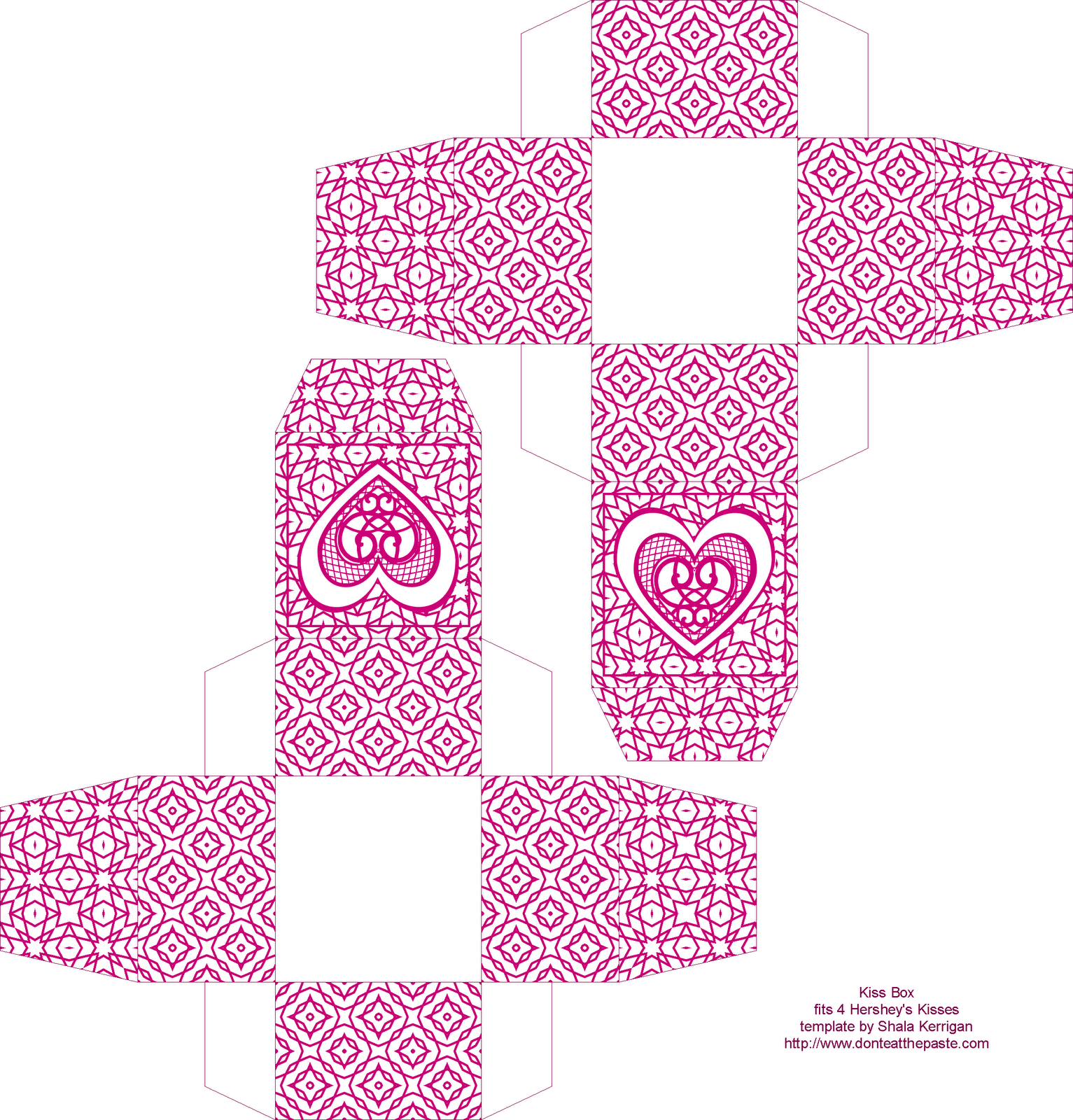Kiss Boxes 5 Colors Printable Gift Bags Paper Box Template Valentines Printables [ 1600 x 1533 Pixel ]