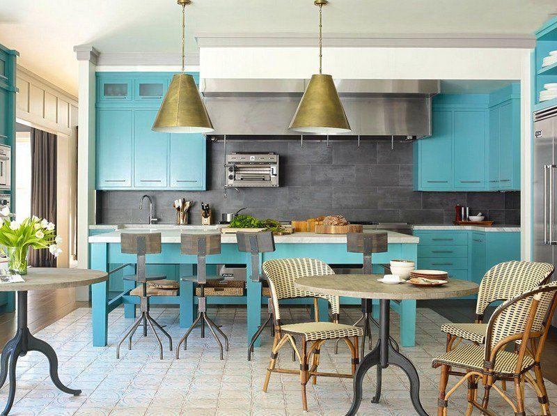 Superieur Credence Cuisine Gris Anthracite Et Portes Du0027armoires Bleu Turquoise