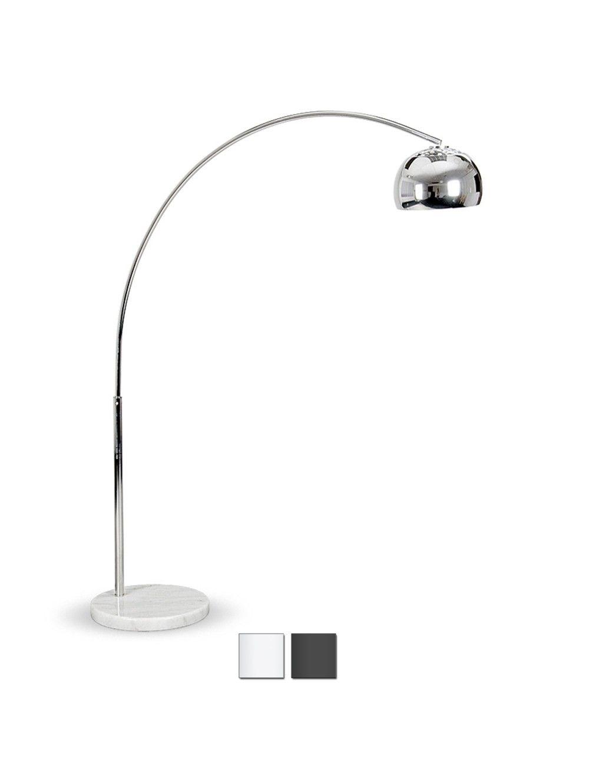 Midi Arco Curva Floor Lamp With White Base Living Room