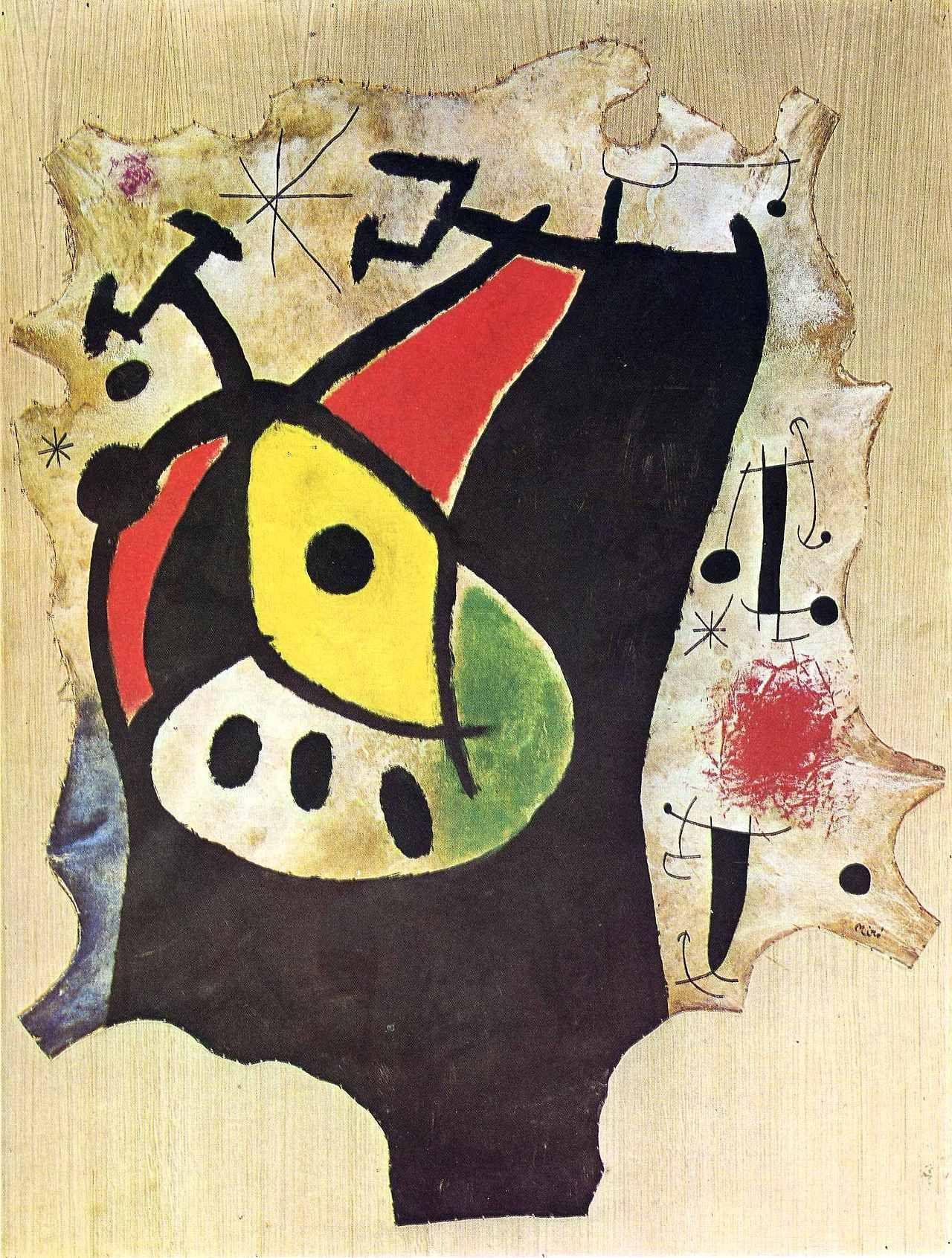 """""""Woman in the Night, 1967, Joan Miro Medium oil, burlap"""