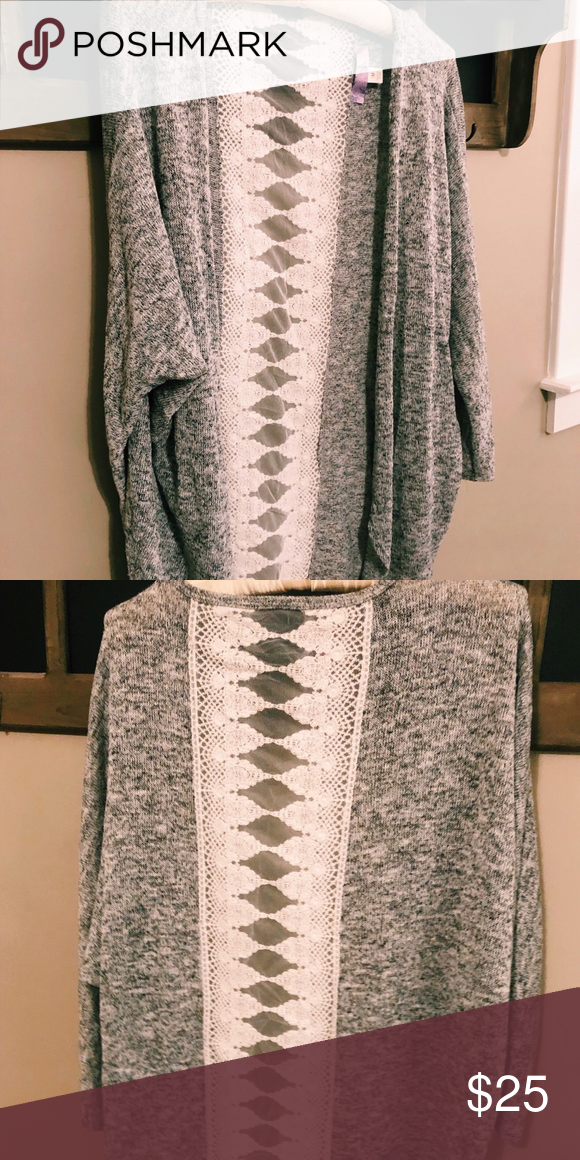 bf72758eb9597 Cardigan with lace back   size medium Grey cardigan Lace back Soft Size  medium Lightly worn Francesca s Collections Sweaters
