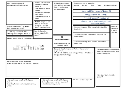 GCSE AQA P3 Revision Poster/Worksheet/ Exam | notes | Pinterest ...
