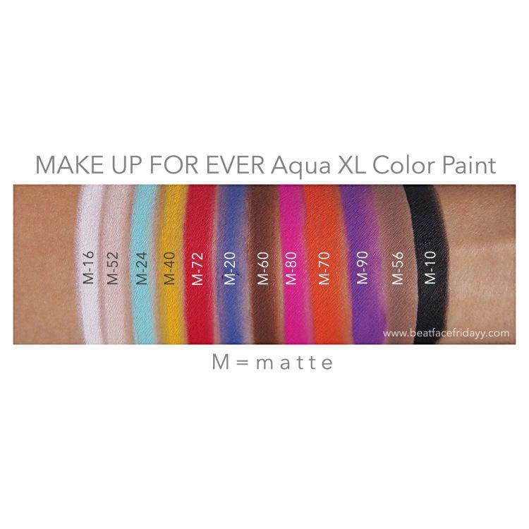 Make Up For Ever Aqua Xl Color Paint M 16 M 52 I 42 M 24 M 40 M 72 M 20 L 54 M 60 I 12 L 14 I 50 I 80 M 82 M 70 Make Up For Ever Make Up Swatch