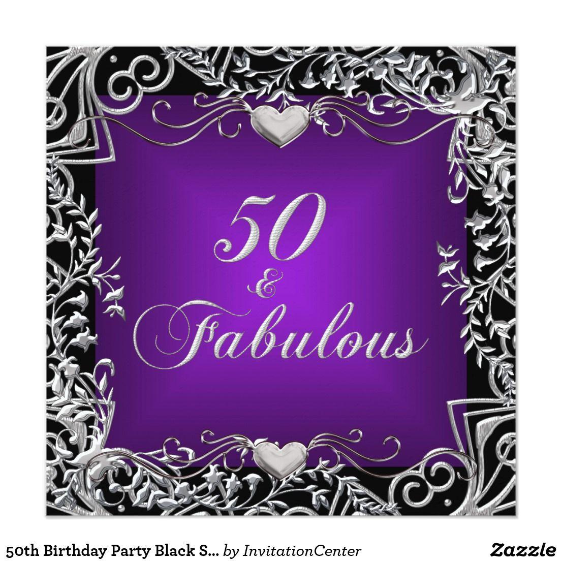 50th Birthday Party Black Silver Deep Purple Card