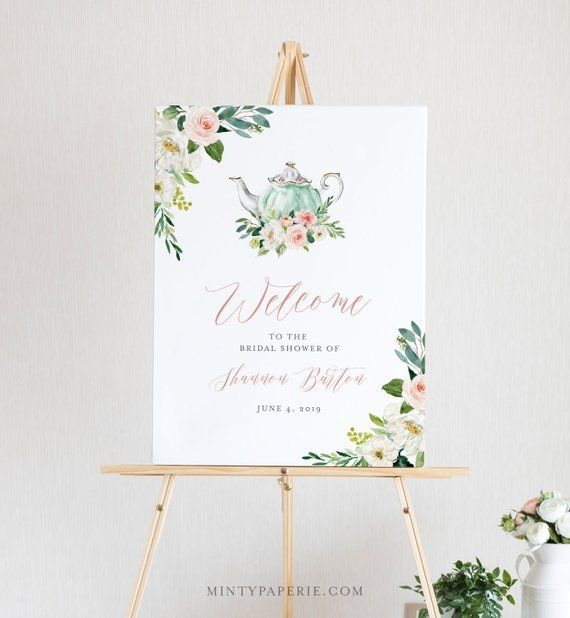 Tea Party Welcome Sign Template, Printable Bridal Tea Shower Welcome Poster, 100% Editable Text, Instant Download, Templett, DIY #085-154LS#085154ls #bridal #diy #download #editable #instant #party #poster #printable #shower #sign #tea #template #templett #text