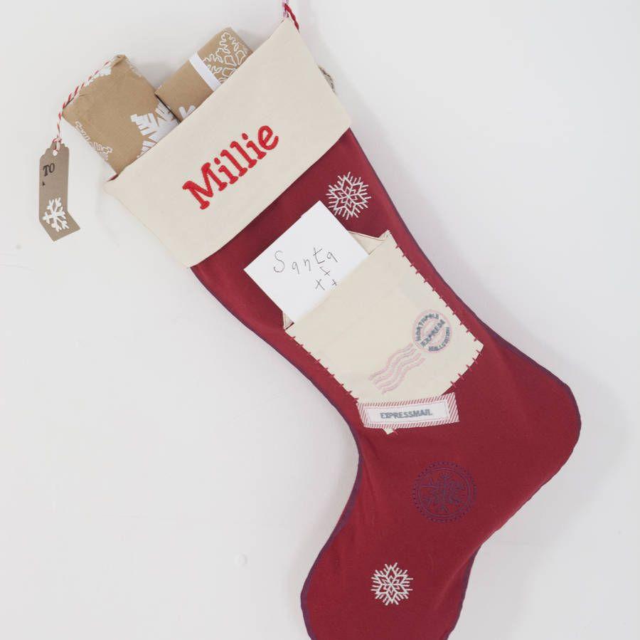 Letter to santa stockings and sacks santa stocking letter to letter to santa with embroidery name in red spiritdancerdesigns Gallery