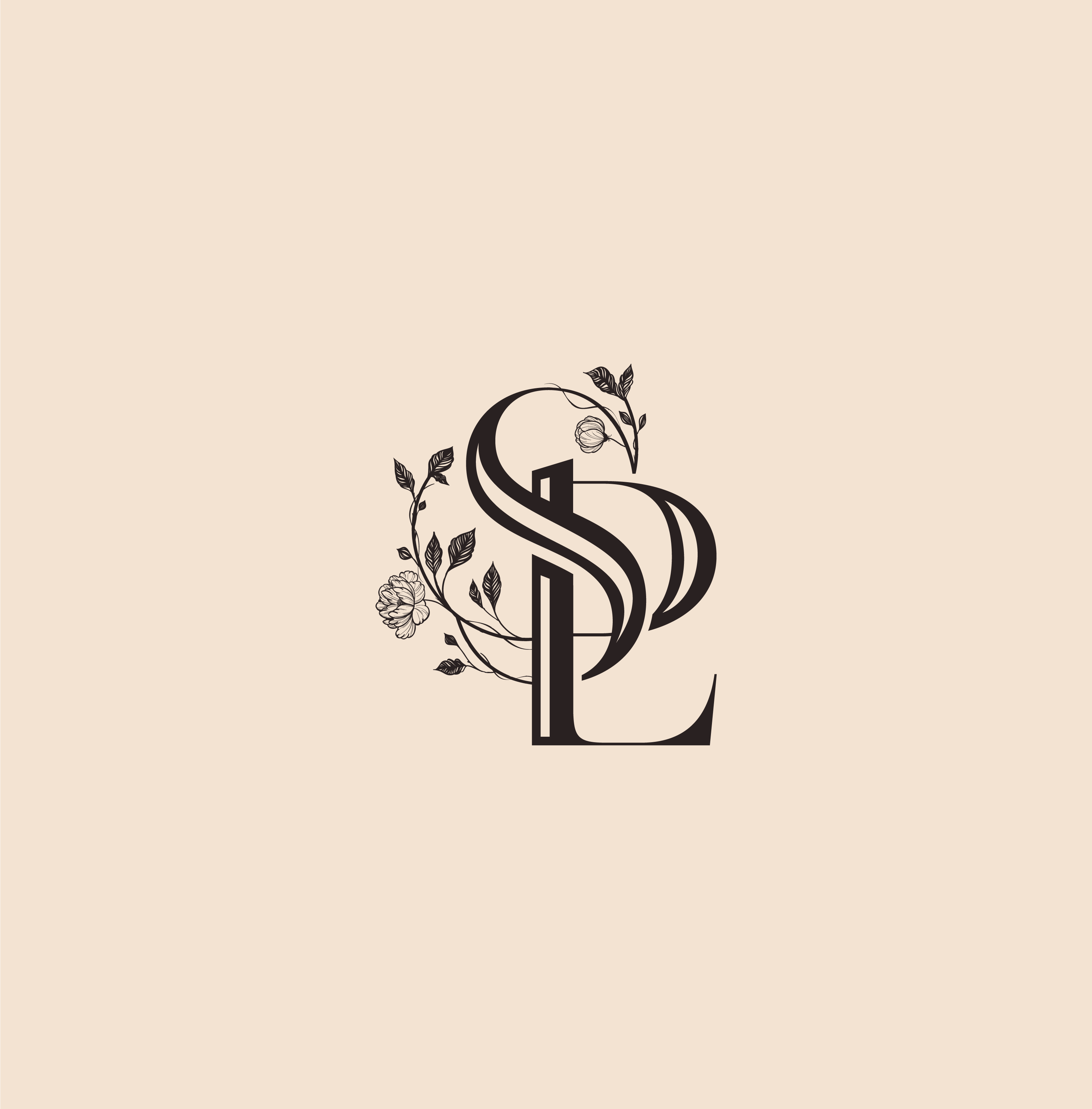 Sp Custom Peony Monogram By Cocorrina Monogram Logo Design Wedding Logo Design Luxury Logo Design