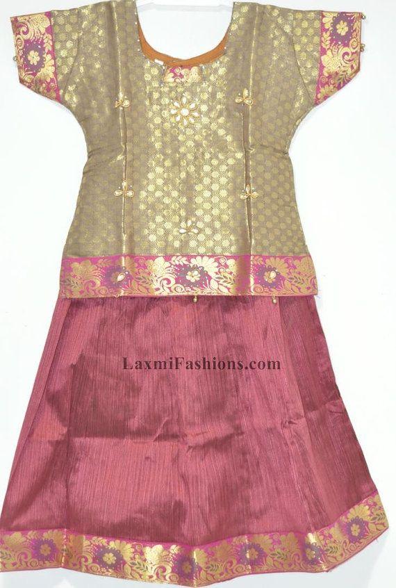 7748b035c45 SALE 25% DISCOUNT Kids Baby Maroon Red Silk Pattu Zari Lehenga Golden Silk  Blouse Choli - Designer Pattu Langa Pavda Pavada by LaxmiFashions