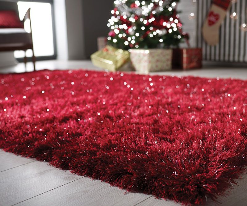 Very Large Red Shaggy Rug With Silver Sparkle From Next Has Been Used Could Do A Clean But Still In Good Condition No Stains Or Wear Collection