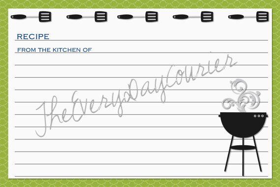 Custom Recipe Cards, Summer Recipe, BBQ Grill, Shower Gift, Bridal - recipe card