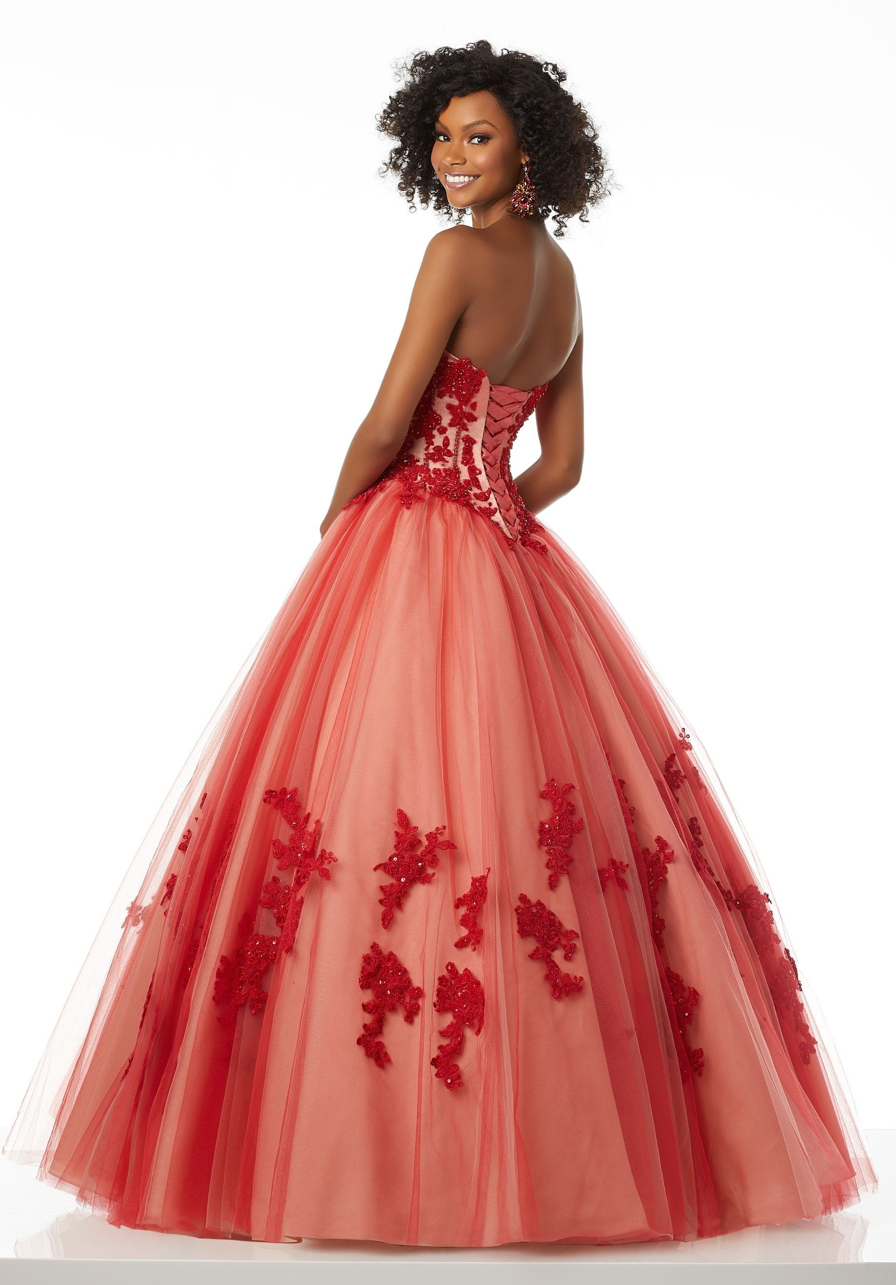 Mori lee jeweled lace corset ball gown in formal wear