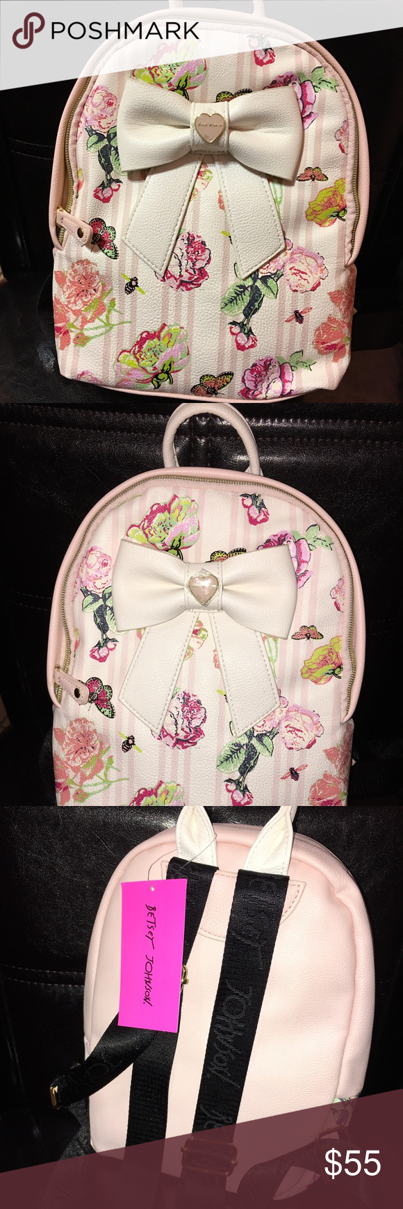 NWT Betsy Johnson small backpack Lovely small Betsy Johnson backpack. Is just adorable adjustable straps with Betsy on them. Perfect for a toddler  Betsey Johnson Bags Backpacks