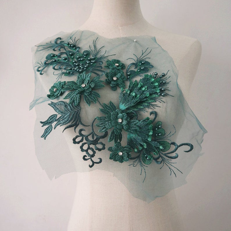 Emerald Green 3d Flower Lace Applique Dark Green Beaded Etsy In 2020 Green Bead Lace Applique Lace