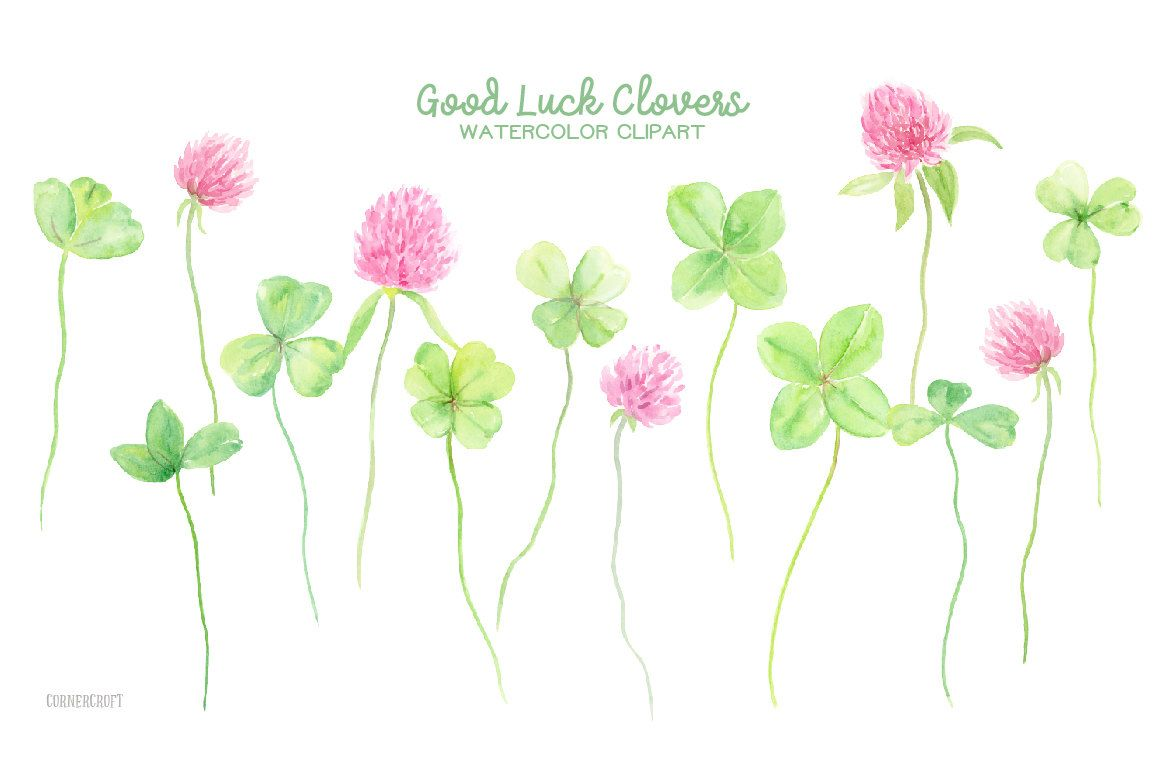 Watercolor clipart good luck clovers 4 leaf clovers 3 leaf watercolor clipart good luck clovers 4 leaf clovers 3 leaf clovers pink clover flowers for instant download by cornercroft on etsy mightylinksfo