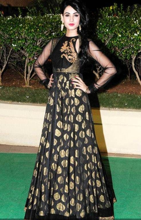 fb2b0be420 Gold Brocade Dress, Brocade Suits, Brocade Dresses, Black Anarkali, Anarkali  Dress,