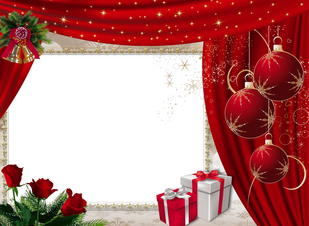 Beautiful Red Christmas PNG Photo Frame with Roses