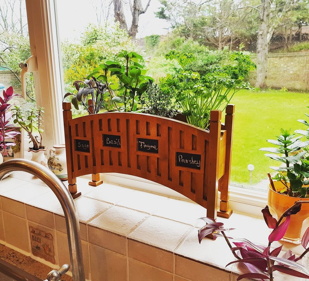 Indoor Herb Garden Kit Durable Wooden Planter Box 640 x 480