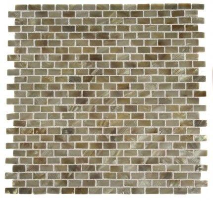 Kitchen or bathroom backsplash? MINI BRICK OYSTER WHITE pearls mini brick pattern glass tile - glasstilestore.com
