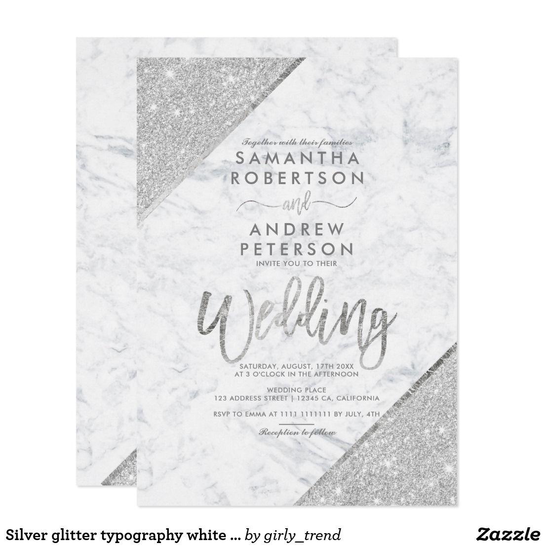 Zazzle Wedding Invitations.Silver Glitter Typography White Marble Wedding Invitation Zazzle