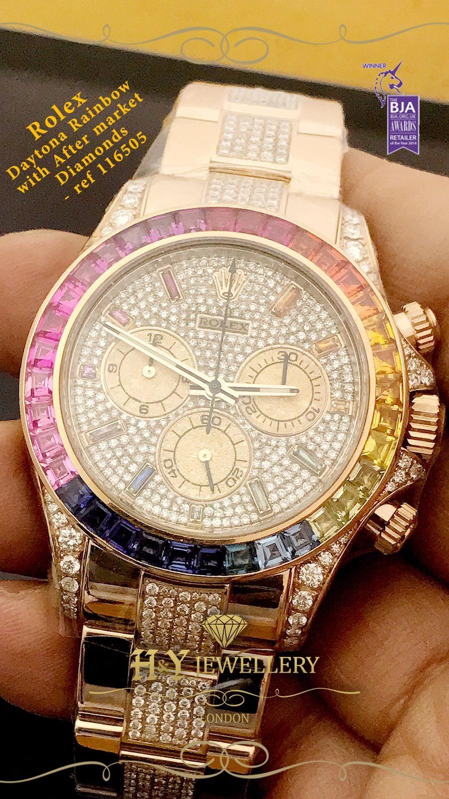rolex daytona rainbow diamond watch