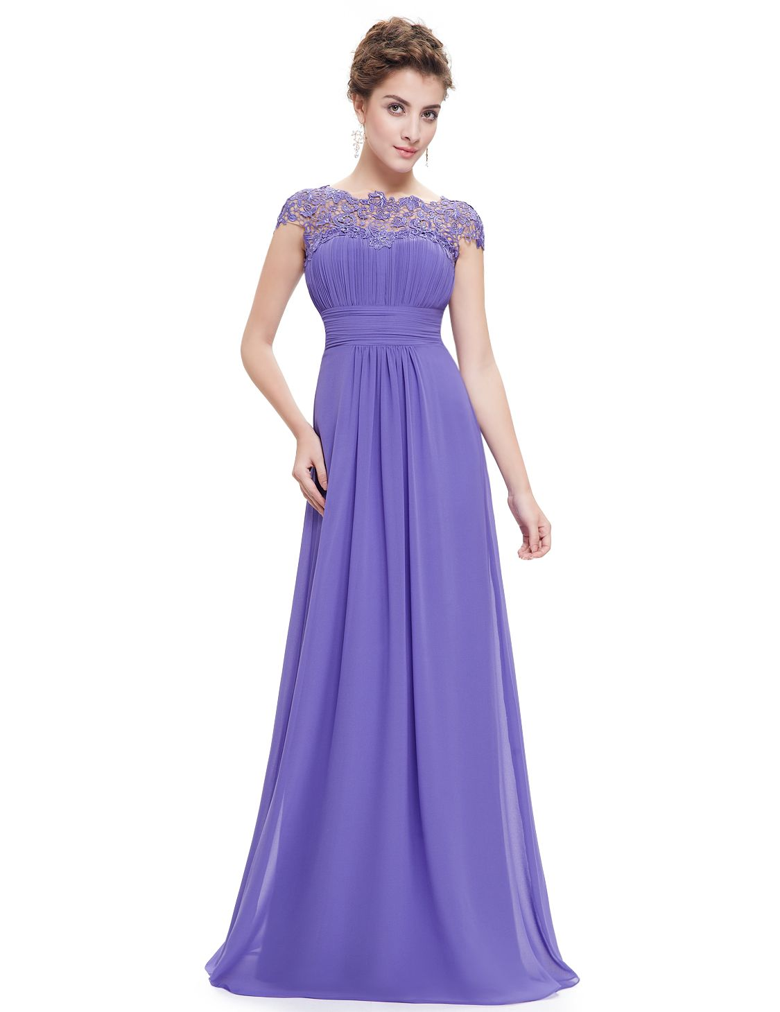 Ever pretty long lace wedding bridesmaid formal evening gown prom