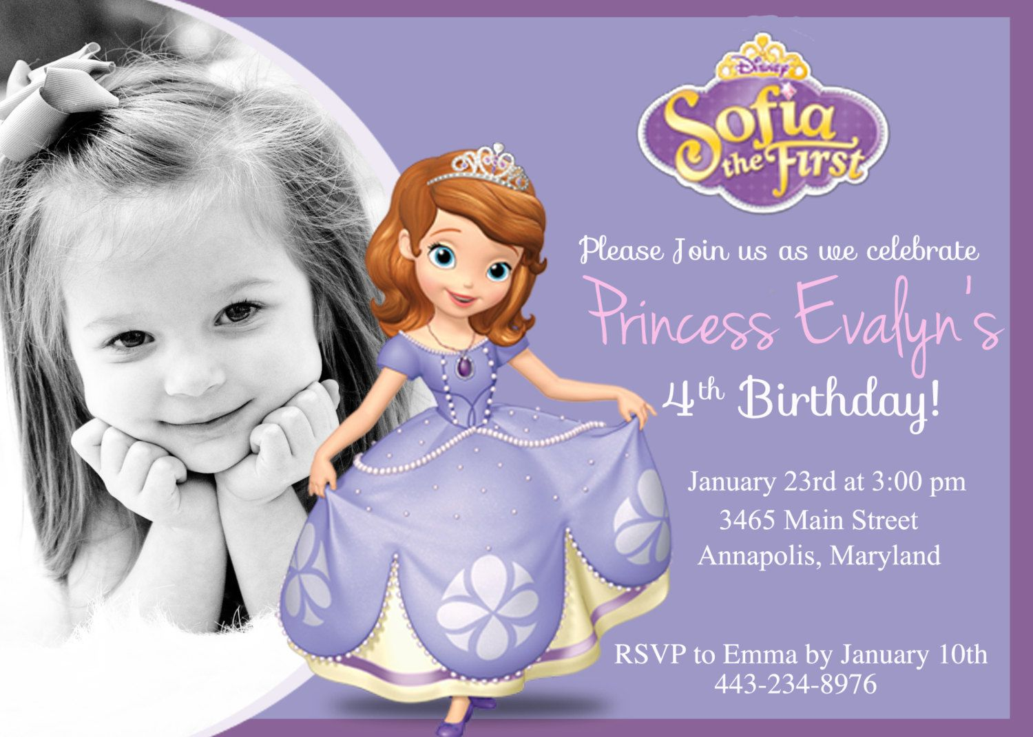 Sofia the First Birthday Party Invitation by PrettyPaperPixels ...