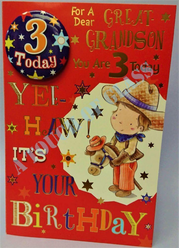 Great Grandson 3rd Birthday Badge Card Candy Club