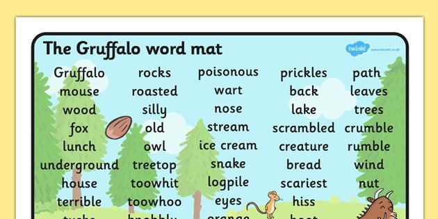 The Gruffalo Word Mat (Text) - The Gruffalo, resources, mouse, fox ...