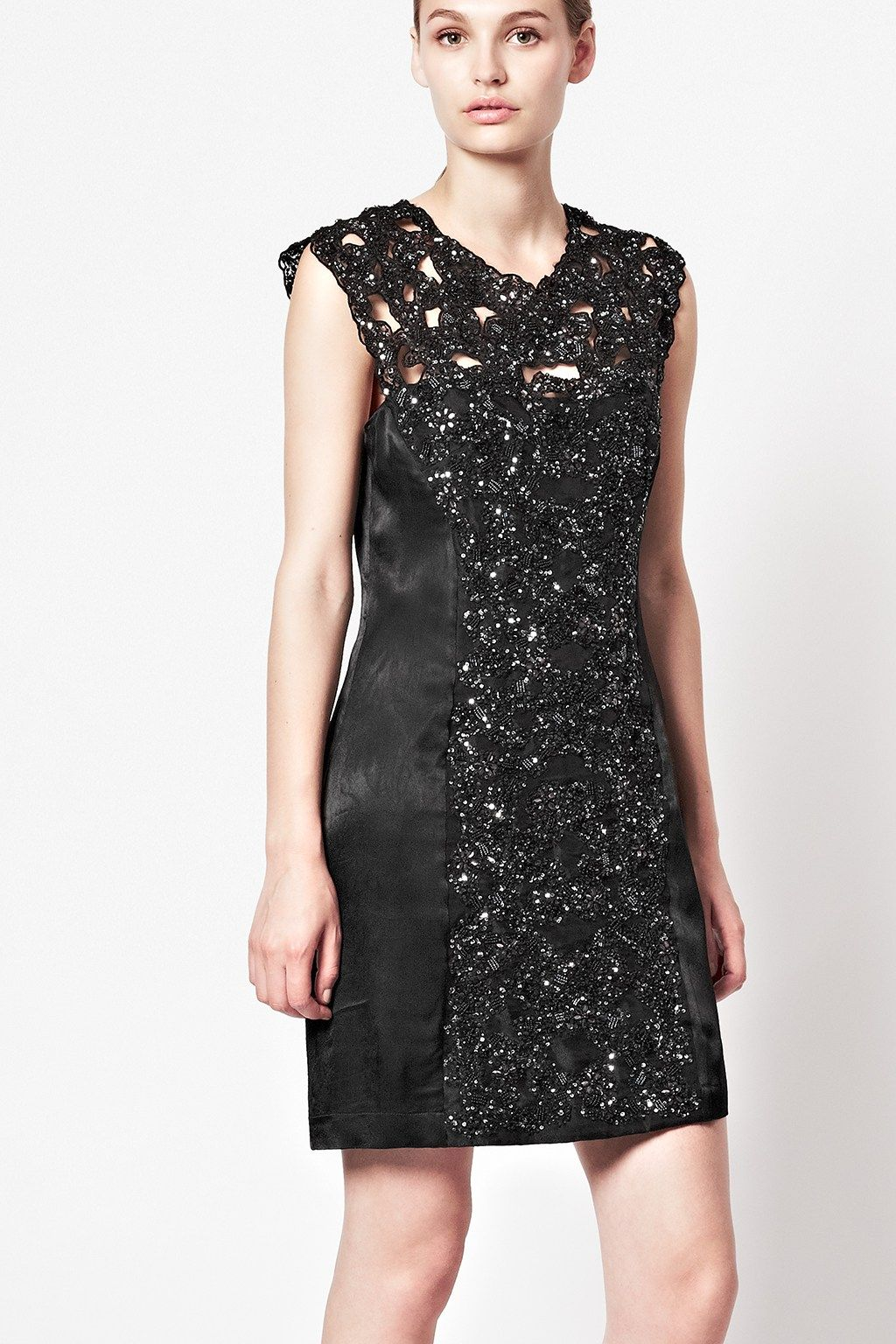 French connection encrusted lace fitted dress