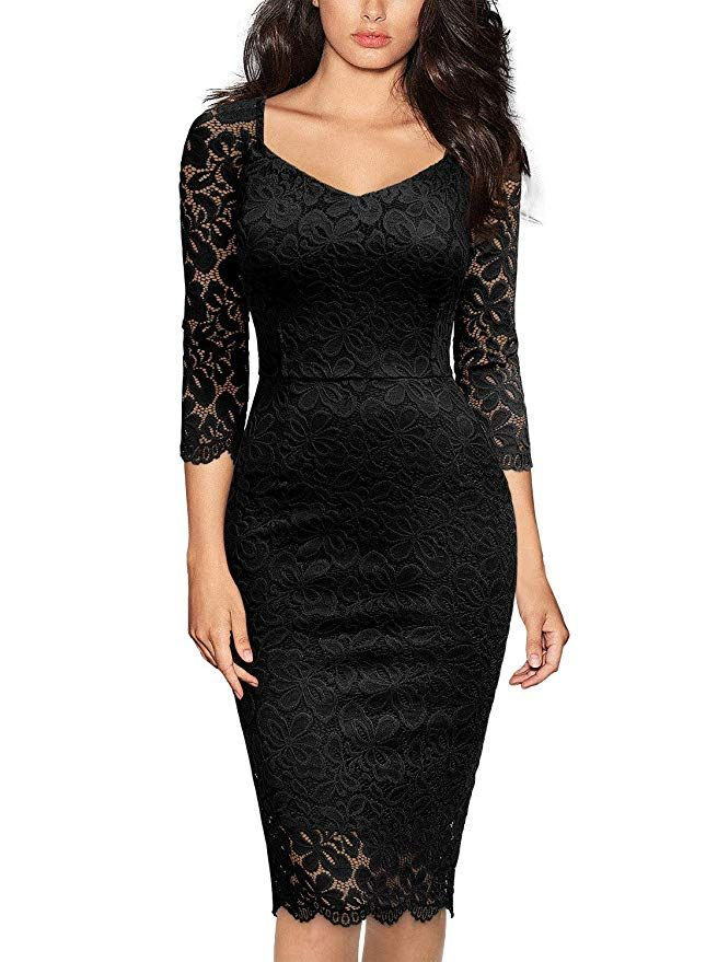 Miusol Womens Deep V Neck Ruffles Floral Lace Fitted Retro