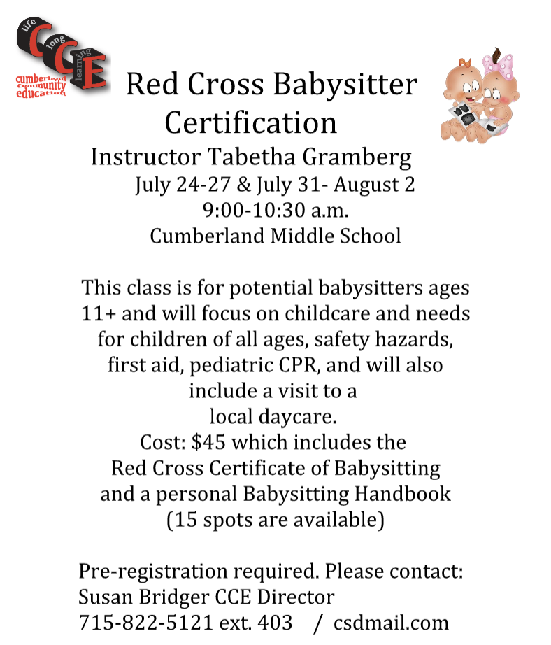 If your child is interested in babysitting this summer, don\'t miss ...