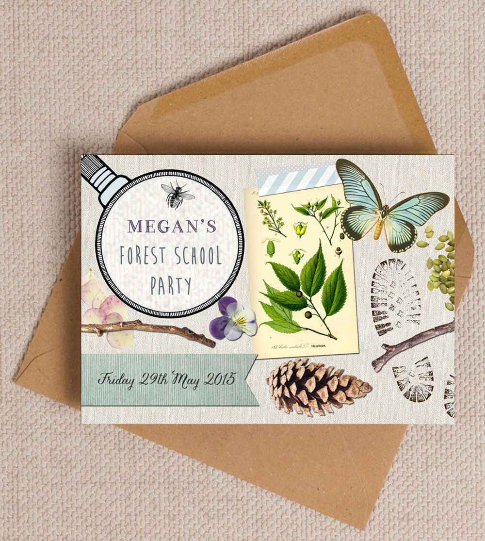Nature Trail Forest School Party Invitation Cards or Magnets by