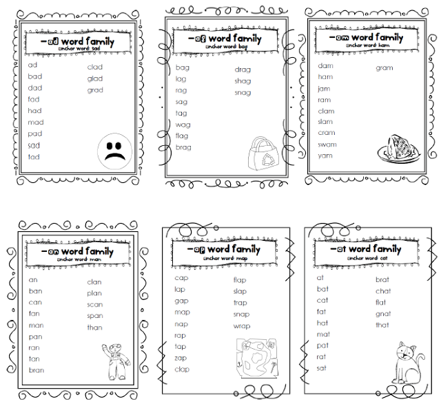 Word Work Word Family Lists And Worksheets Word