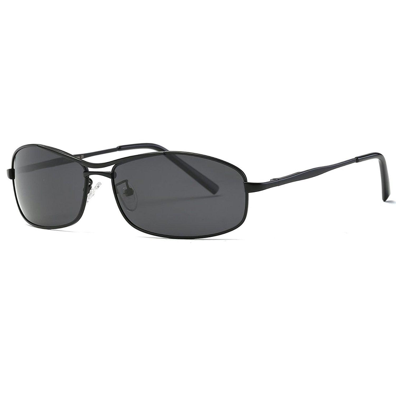 2e9e47c67fb Polarized Men s Sunglasses Rectangle Metal Frame 4 Colors Sun Glasses K0559  - Black - CB187AIOCTS - Men s Sunglasses