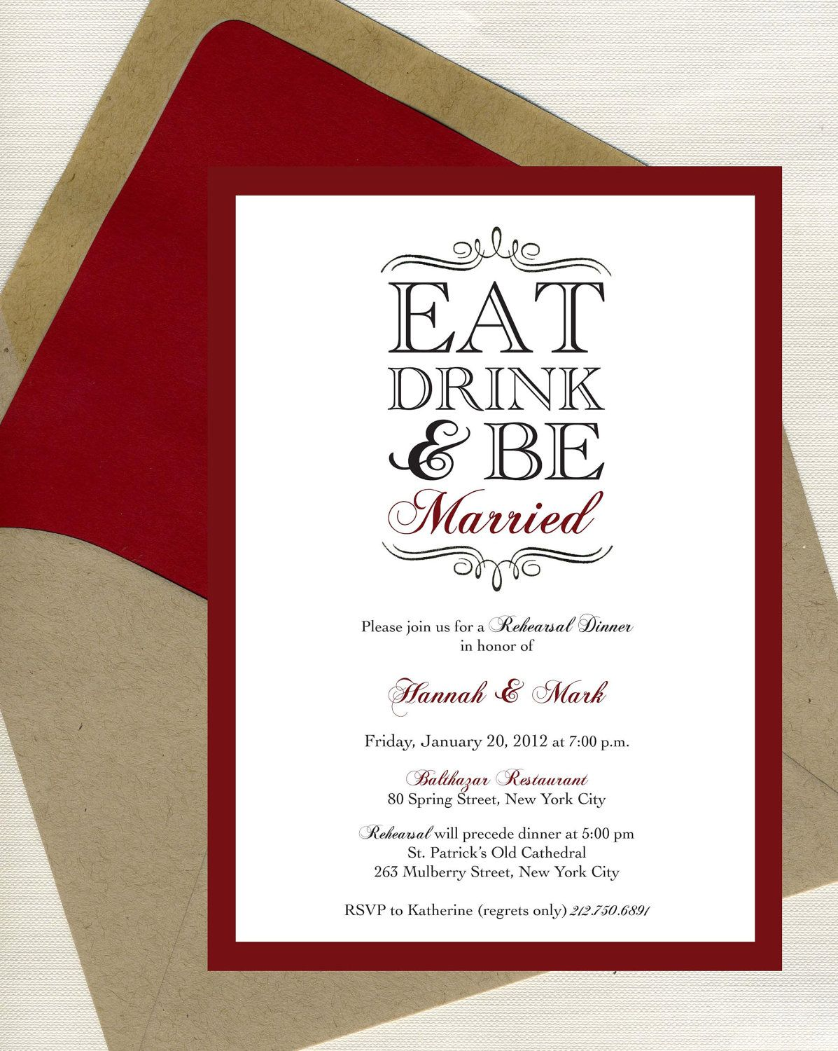 RESERVE LISTING for Kathy | Rehearsal dinner invitations, Dinner ...