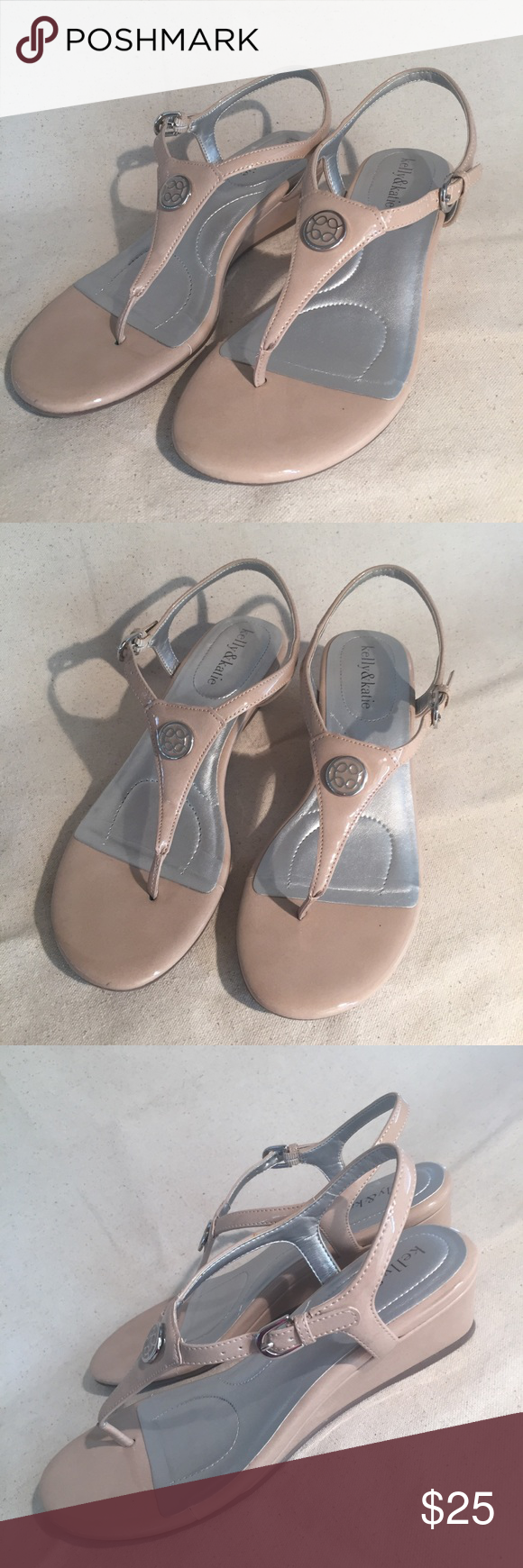 "Kelly and Katie low wedge sandals Sporty and fun low wedge thong sandals. Patent leather taupe. Worn once - see pic of heels for one spot  of a scuff. Wedge 1.5"". Size 8. In great shape. Non smoking pet free closet. Week day shipping only. Kelly & Katie Shoes Sandals #lowwedgesandals Kelly and Katie low wedge sandals Sporty and fun low wedge thong sandals. Patent leather taupe. Worn once - see pic of heels for one spot  of a scuff. Wedge 1.5"". Size 8. In great shape. Non smoking pet free clo #lowwedgesandals"