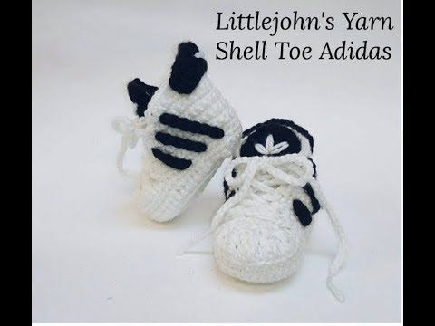 Crochet Adidas booties - YouTube | Strickmuster | Schuhe häkeln ...
