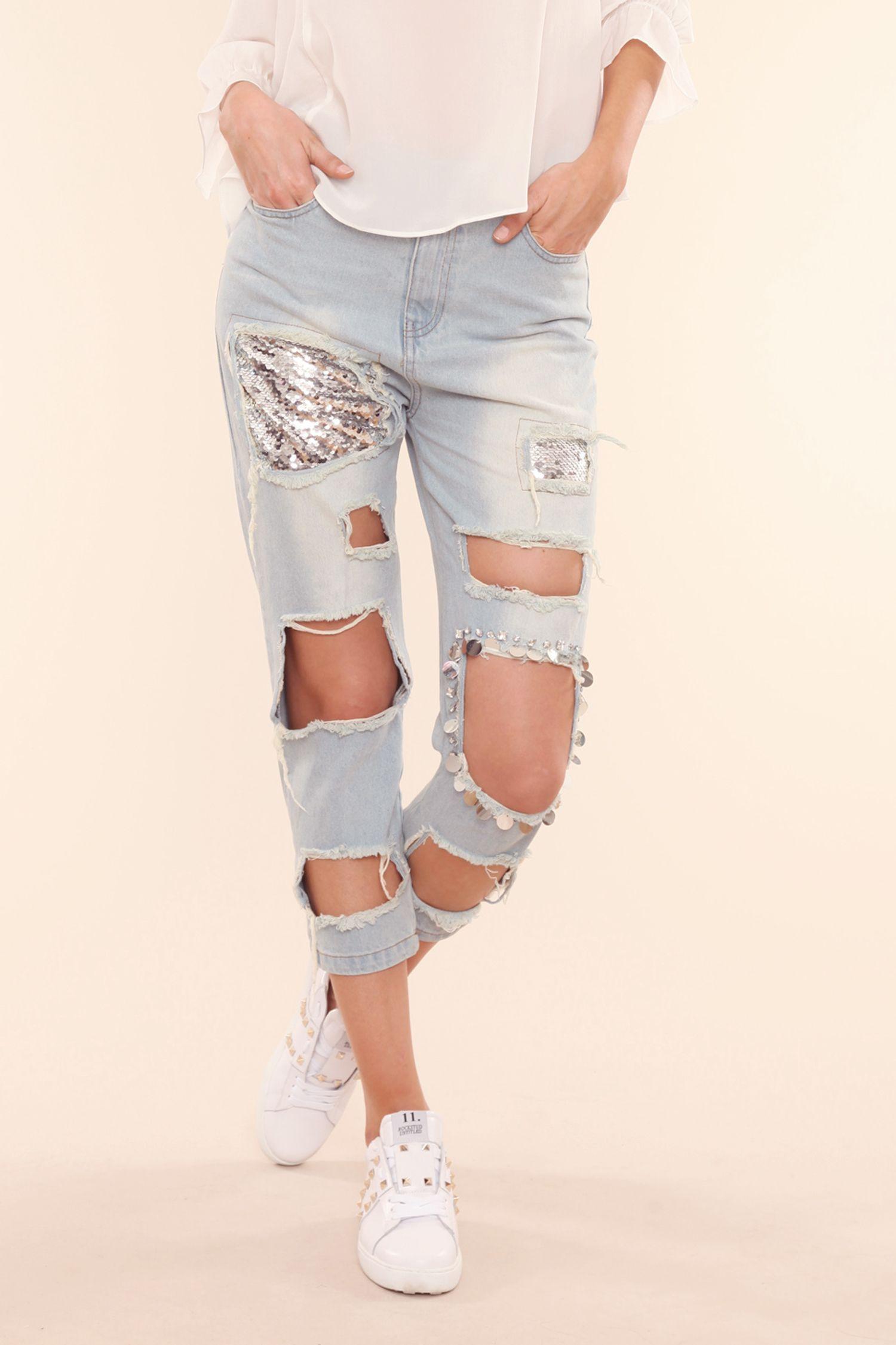 descuento la mejor actitud disfruta de precio barato JEANS ROTOS CUADRADOS LENTEJUELAS   jeans ideas   Pantalones ...