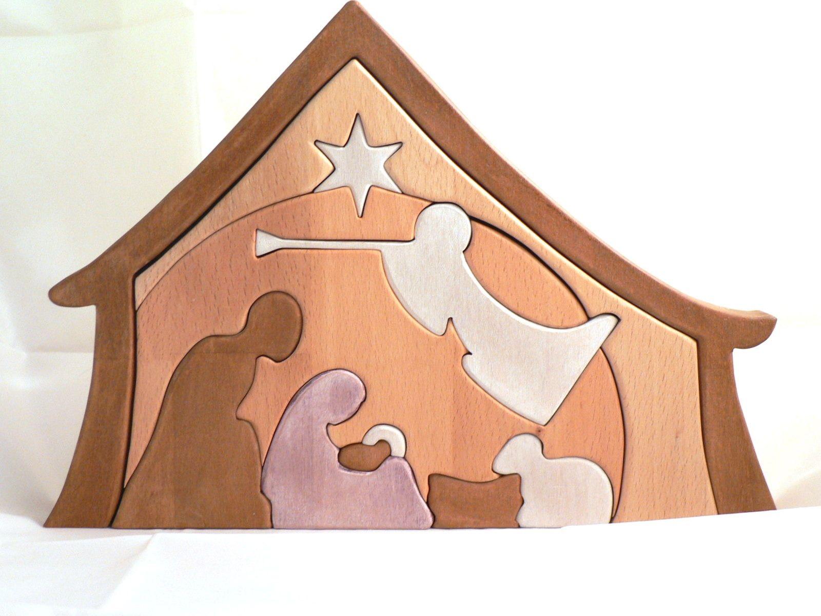 Crèche de noël en bois découpé façon puzzle : Accessoires de