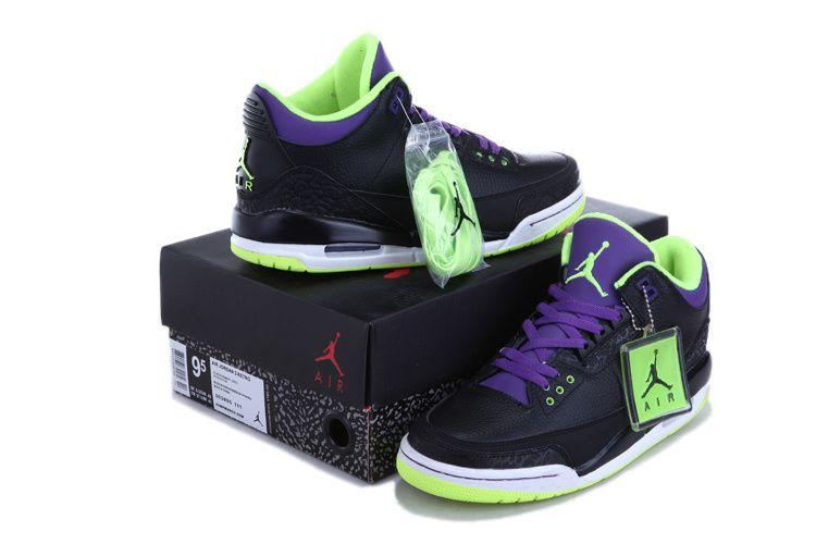 Nike Air Jordan 4 Retro Mens Shoes Black Lime Green Purple  ac2f13ffc882