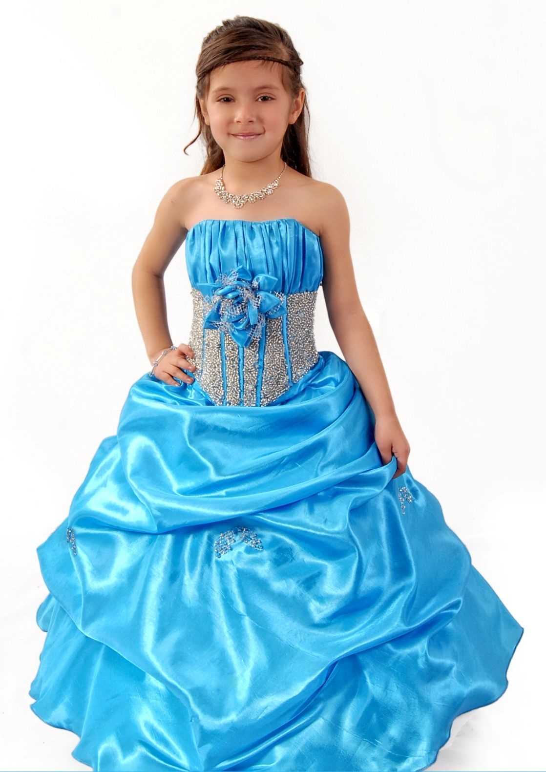 3 Anos Girls Dress with Pick-Up Skirt and Beads by Sofia Collection ...