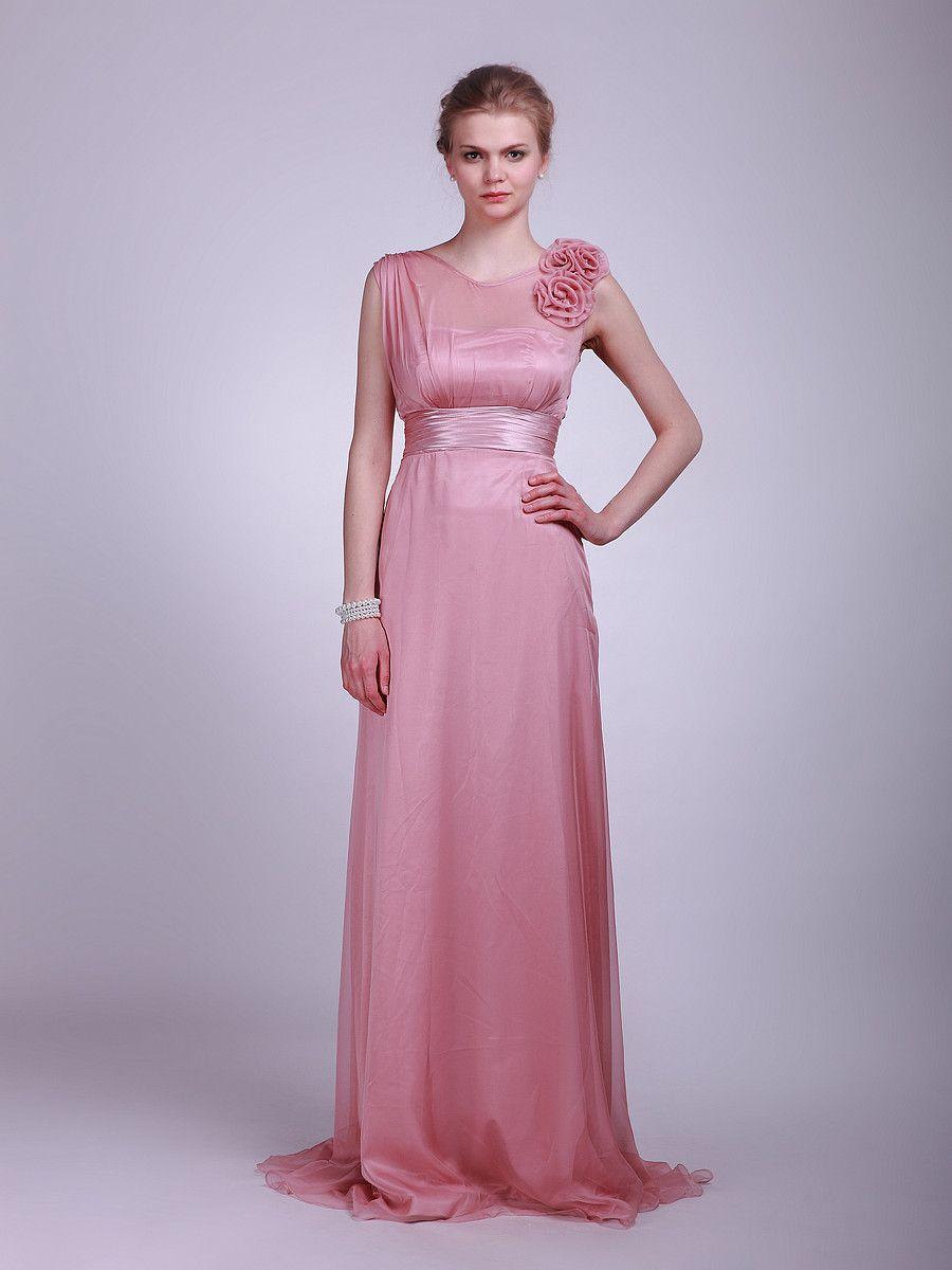 Sheer-Chiffon Bridesmaid Dress with Satin Waistband   fashion ...