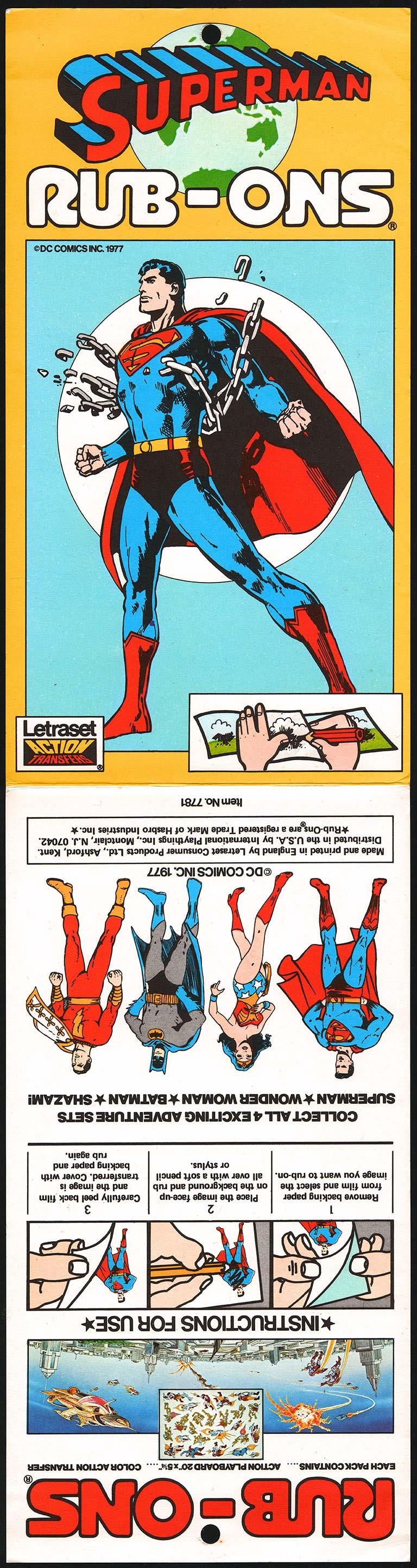 Superman Rub-Ons