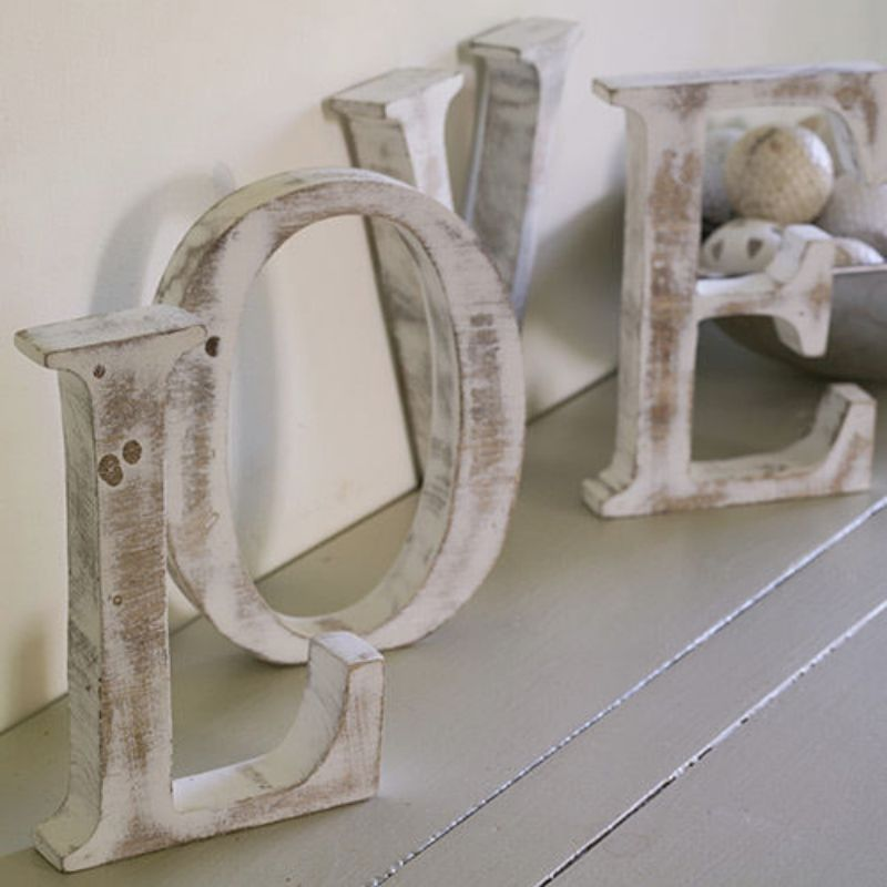 """LARGE SHABBY CHIC VINTAGE WHITEWASH WOOD """"LOVE"""" LETTERS GIFT WEDDING HOME"""